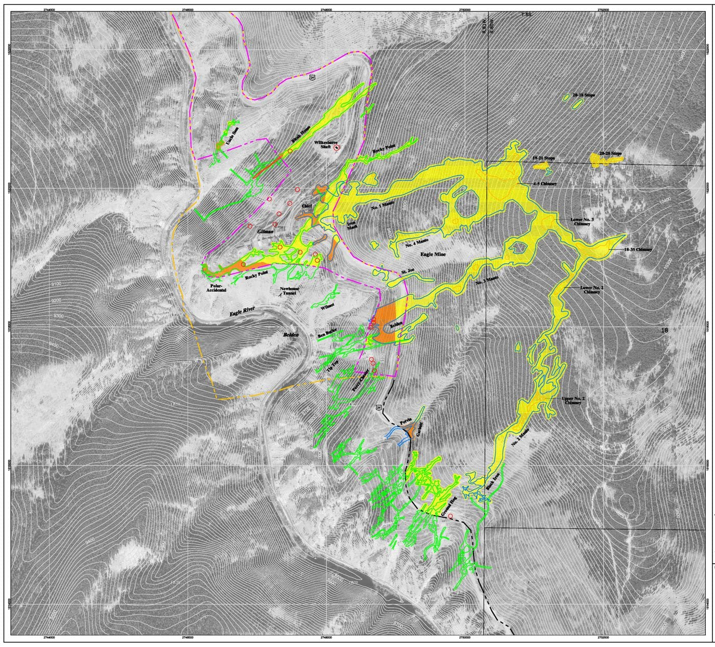 Contour map with color overlay showing areas with increased risk of subsidence